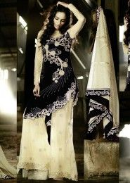 Party Wear Velvet Black Antique Work Anarkali Suit
