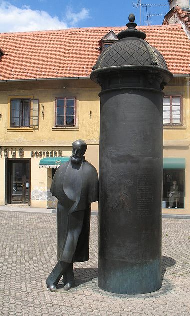Statue of August Senoa, a famous Croatian writer and poet.