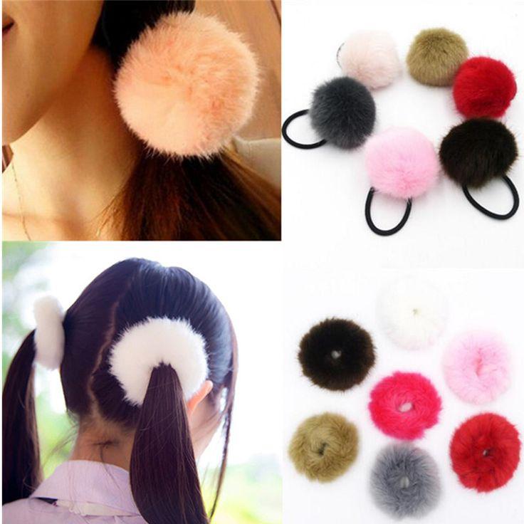 Artificial Korean Rabbit Hair Ball Cute Girls Head Tail Horse Rope Elastic Rubber Hair Ties Women Hair Band Accessories Headwear