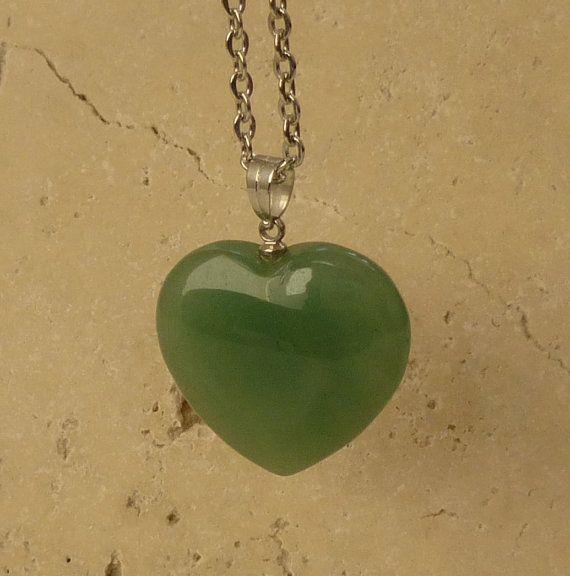 Heart shape Aventurine Pendant Green Gemstone by ShawlsandtheCity, $20.00