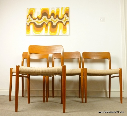 4 Niels Moller Teak Chairs - Model 75. I like the painting on the wall more
