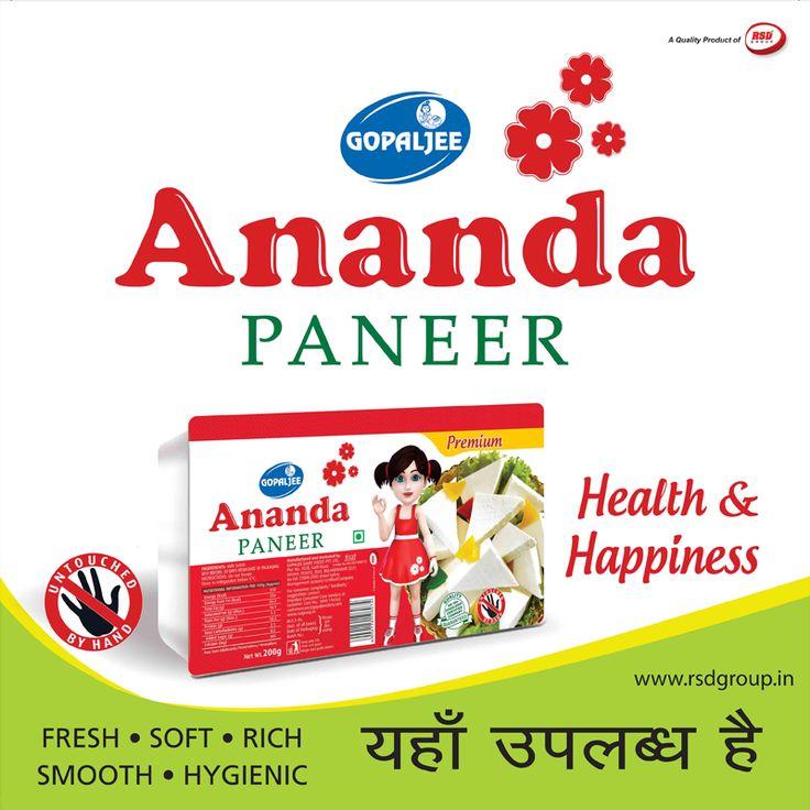 दूध में मौजूद सभी पोषक तत्व जैसे प्रोटीन, कैल्शियम, विटामिन बी-2, बी- 1 2, ए व डी सभी गोपालजी आनंदा पनीर में भी हैं । तो फिर सेहत व स्वच्छता से समझौता क्यों ? http://www.rsdgroup.in/gopaljee-ananda/paneer.html