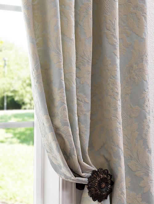 Window Treatments - Mayfair Light Blue Cotton Damask Curtains -