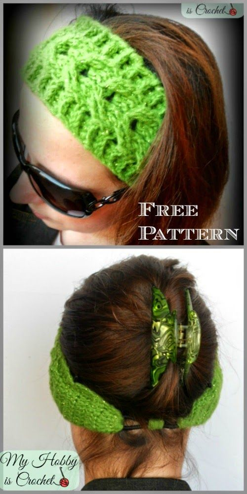 Crochet Cable Headband Easy fit - Free crochet Pattern with Tutorial by My Hobby is Crochet Blog