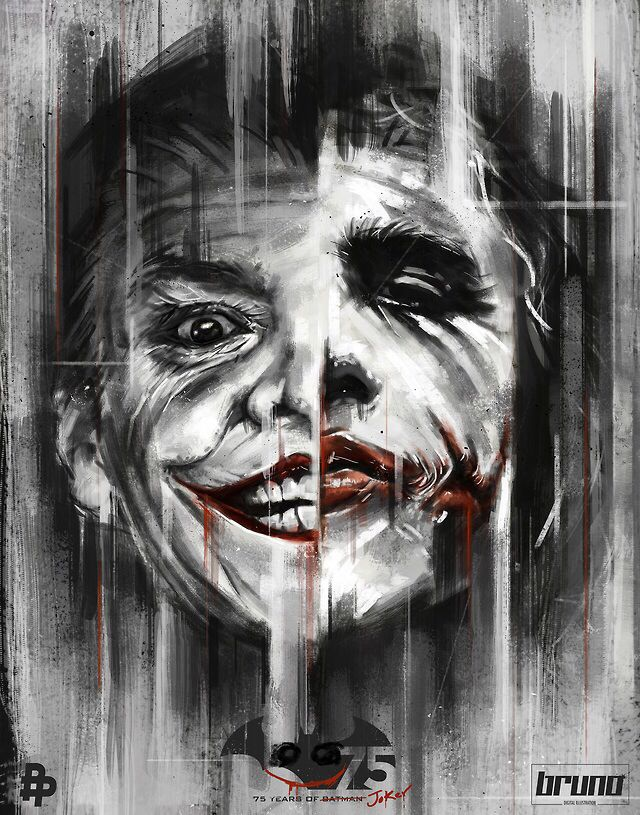 """Jack or Heath? Awesome artwork. I love the 75 years of Batman crossed out for """"Joker."""" Nice touch."""