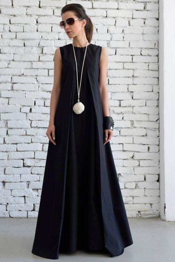Black Floor Length Maxi Dress Simple And Beautiful Kaftan Evening Wear Spring Dress Wedding Guest Dress Long Black Dress Black Maxi Dress Maxi Dress