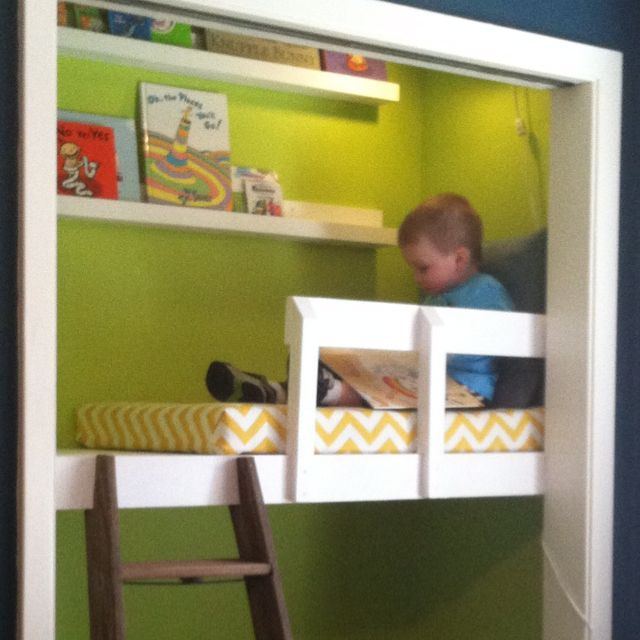 After tons of inspiration pinning, we're done with James' closet reading nook.