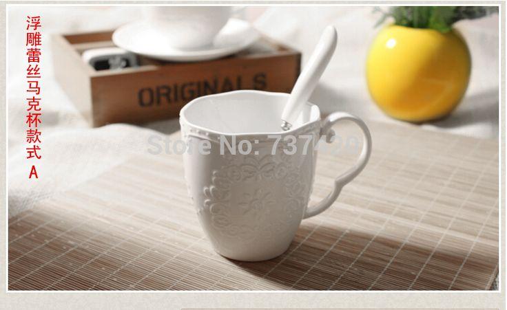 Творческий Кружка drinkware инструменты костяной фарфор керамика чашки 300 МЛ белые кружки с ложкой Творческий кружка тиснением кружева кубок бесплатно доставка