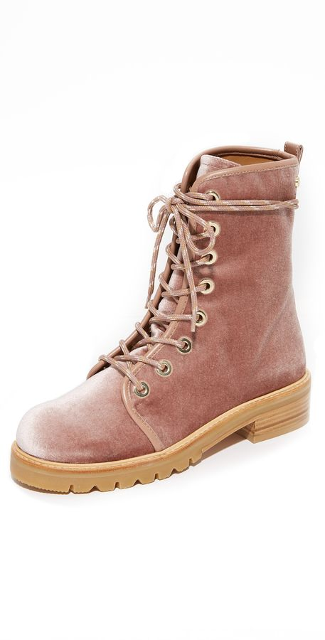 Pink velvet combat boots - cute and comfortable fall style