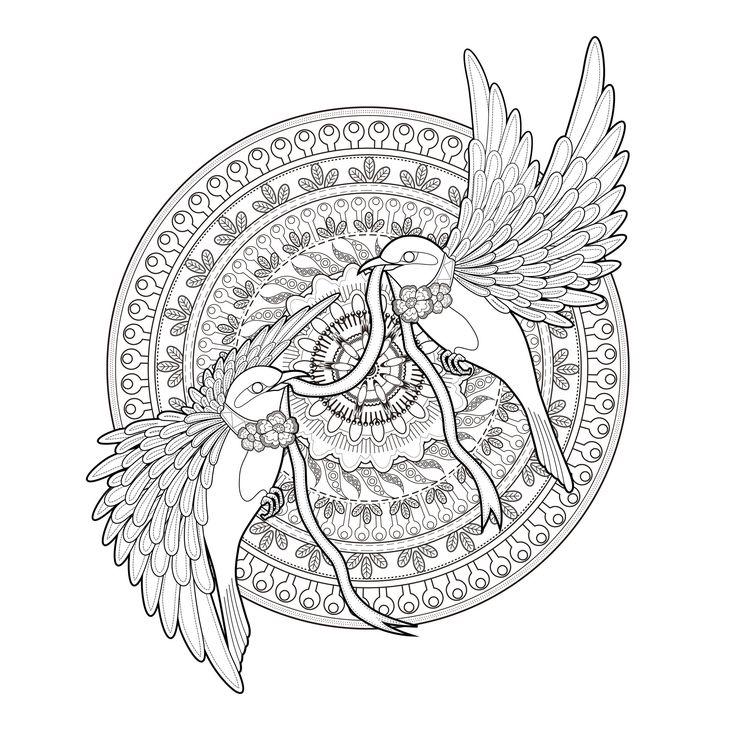 Galerie de coloriages gratuits coloriage-adulte-mandala-deux-hirondelles-et-un-ruban-par-kchung. Magnifique mandala complexe avec deux hirondelles volant ensemble, par Kchung (source : 123rf)