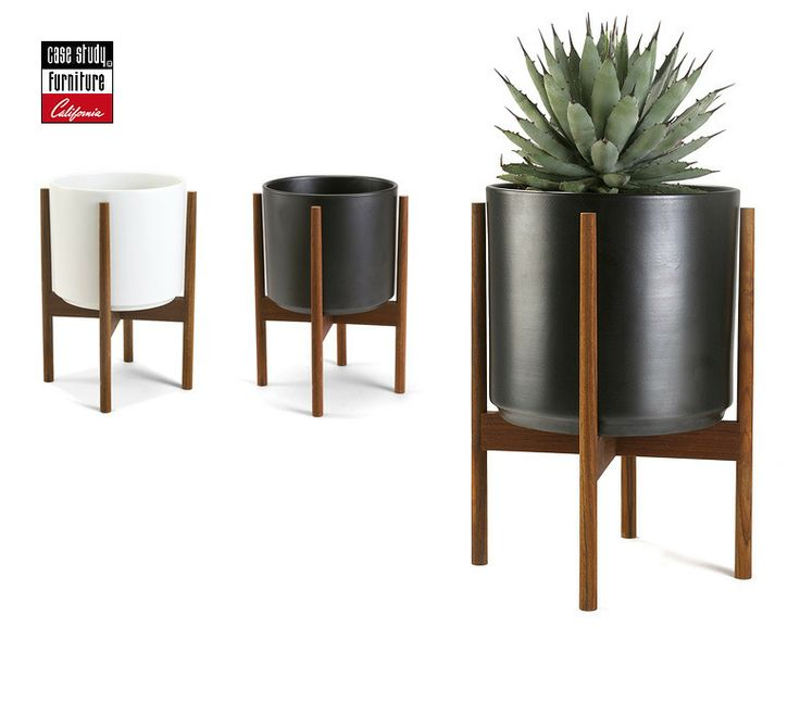 Case Study Cylinder Plant Pot W Wood Stand By Modernica Made In Usa Modern  With Modern Pots For Indoor Plants