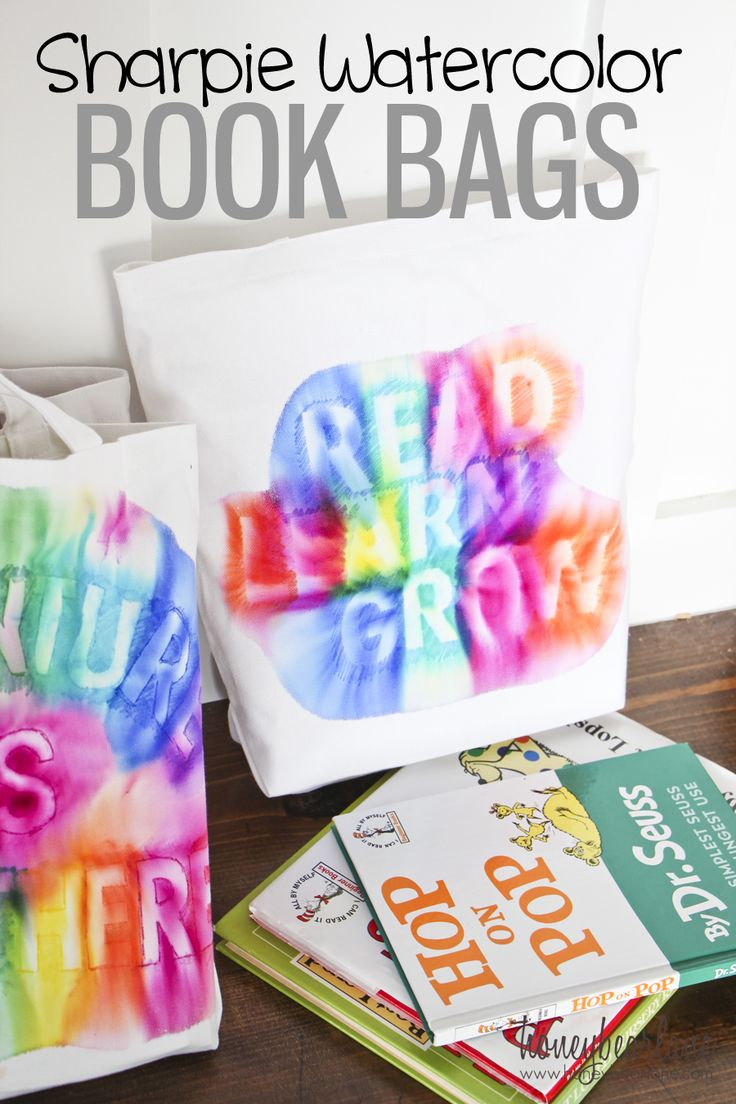 DIY sharpie water color book bags ... Can use same technique for wall decor, t-shirts, sweatshirts, even sneakers.  DIY decor, fashion