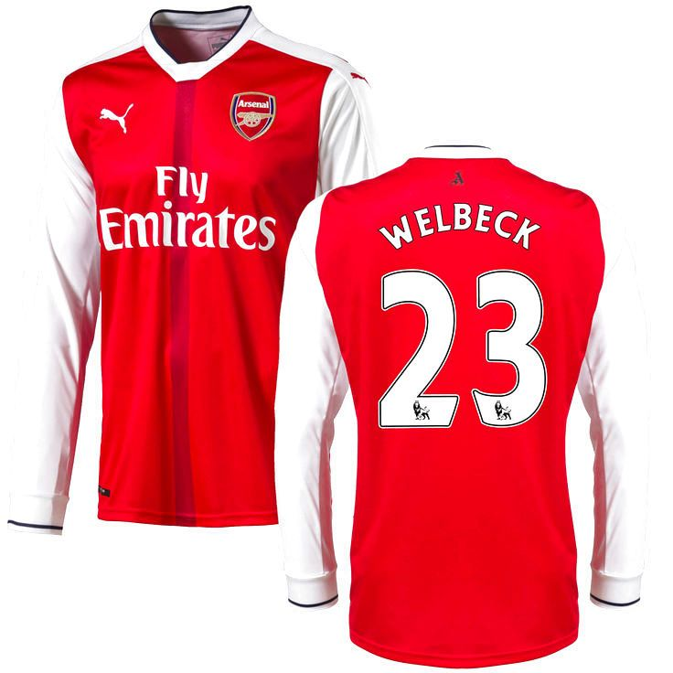 Danny Welbeck Arsenal Puma 2016 Home Replica Long Sleeve Jersey - Red - $114.99
