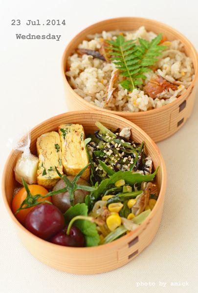 ・牛蒡とこまいの炊き込みご飯 ・小松菜と舞茸の肉味噌炒め ・鶏とひじきのわさび和え ・バジル入り卵焼き ・2色プチトマト ・アメリカンチェリー