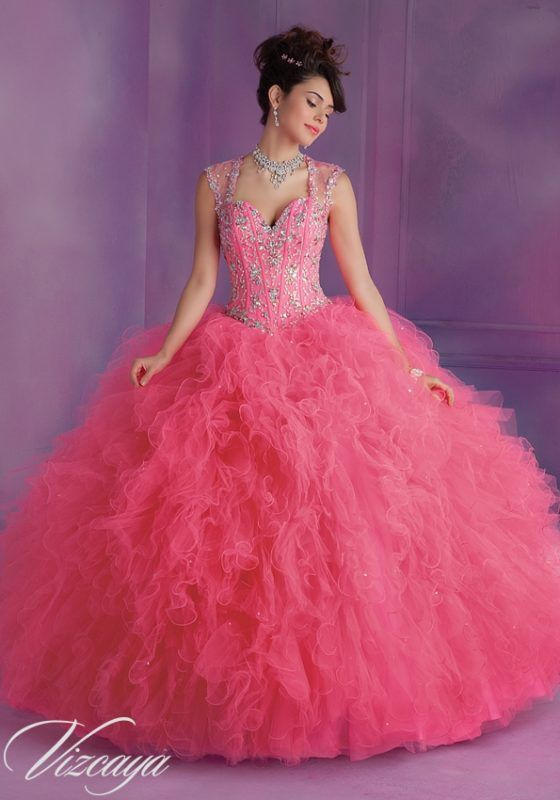 Ruffled Tulle Quinceanera Dress with Beading and Matching Stole