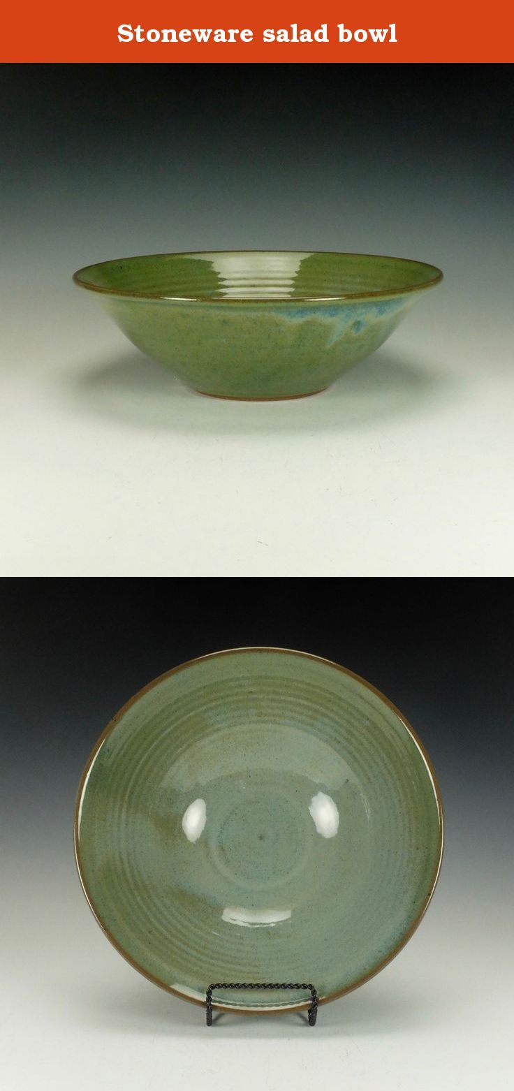 """Stoneware salad bowl. Wheel thrown stoneware salad bowl. Blue/Green gloss glaze. Lead-free, oven, microwave and dishwasher safe. The image is of the actual piece for sale. Signed on the bottom by the artist. The bowl is approximately 3.75"""" high x 12"""" diameter. Ready to ship."""