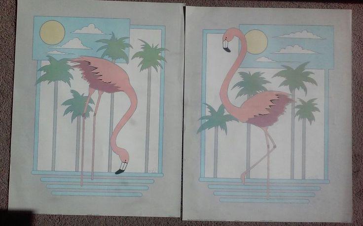 "2 Vintage '88 Art Poster Litho Print Pink FLAMINGO  by K E PARKER 22x28"" Pair"