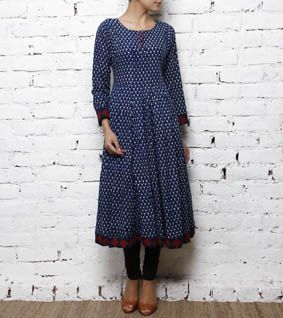 Blue Block Printed Cotton Anarkali Kurta