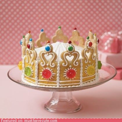 cute kawaii stuff - Epicute: King of Cakes!Cookies Crowns, Crowns Cake, Birthday Parties, Princesses Cake, Little Princess, Cookies Cake, Princesses Crowns, Princesses Parties, Birthday Cake