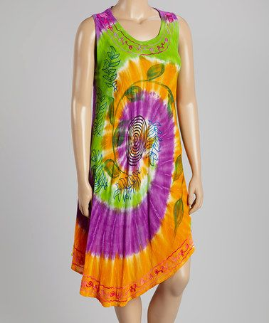 Look what I found on #zulily! Lime & Orange Tie-Dye Embroidered Dress- Plus #zulilyfinds
