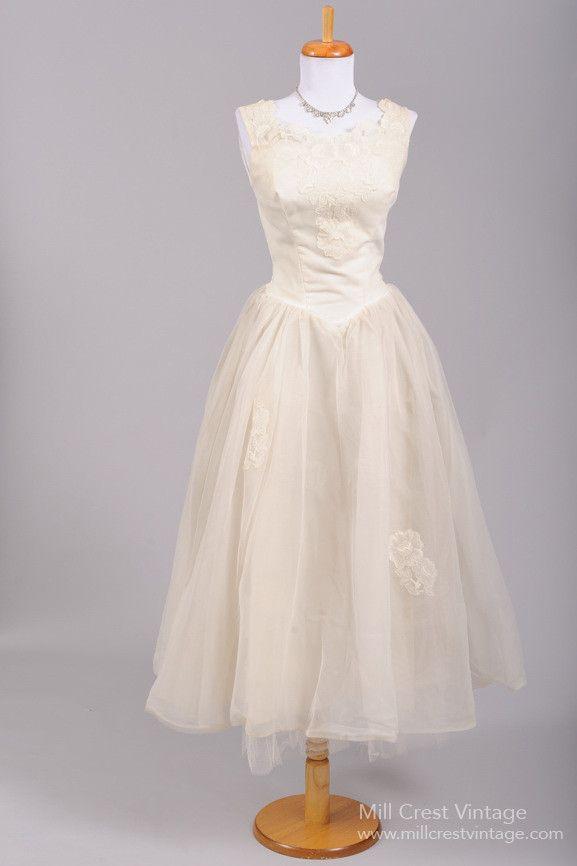 1950 Rose Tea Vintage Wedding Dress , Vintage Wedding Dresses - 1950 Vintage, Mill Crest Vintage - 1