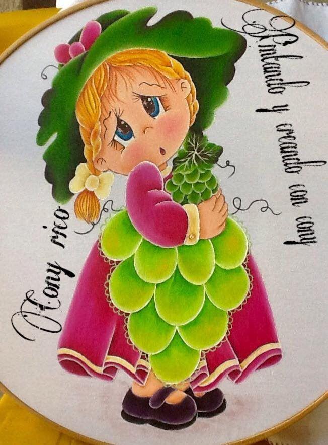 Pintura en tela niña uva # 7 con cony
