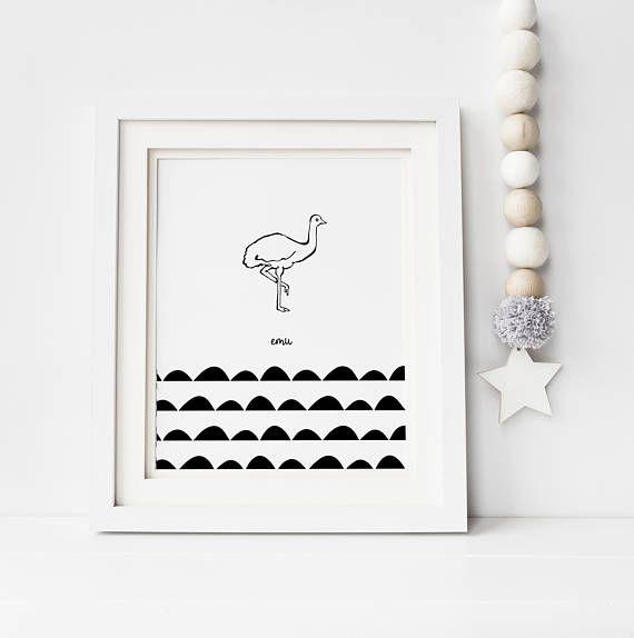 Emu illustration, kids room decor, nursery art, monochrome, Australia, digital print, printable, hand drawn