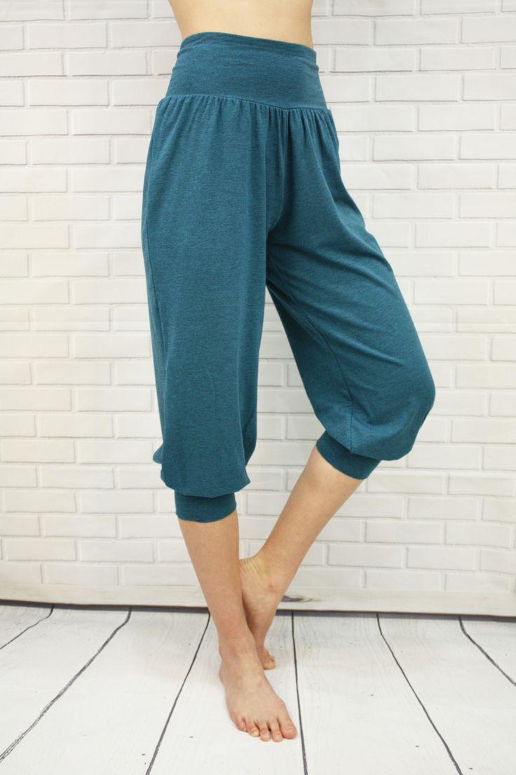 Harem style capri, loose, luxurious bamboo fabric - J76 BambooWear Persia Capri - Emerald Green, Heather Grey, and Black