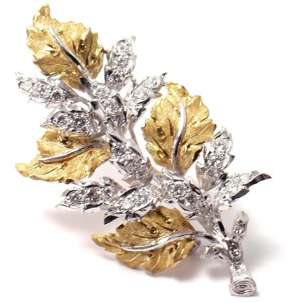"Authentic! Buccellati 18k Yellow Gold 33 Diamonds ""Leaves"" Brooch Pin - Fortrove"