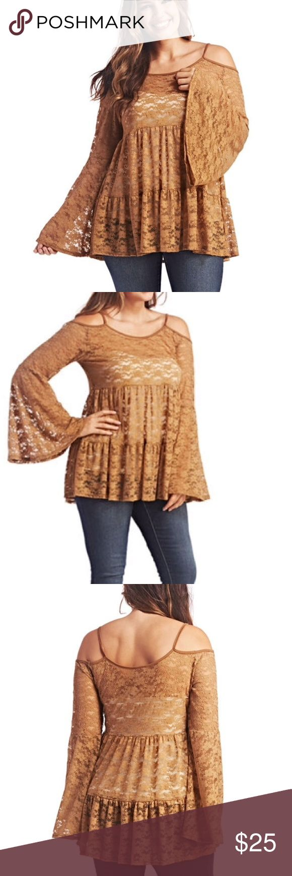 NWT 1x cold shoulder bell sleeve lace babydoll top NWT 1x wet seal plus cold shoulder babydoll top with bell sleeves . Stretch lace . Camel. Available in black in separate listing Wet Seal Tops Blouses