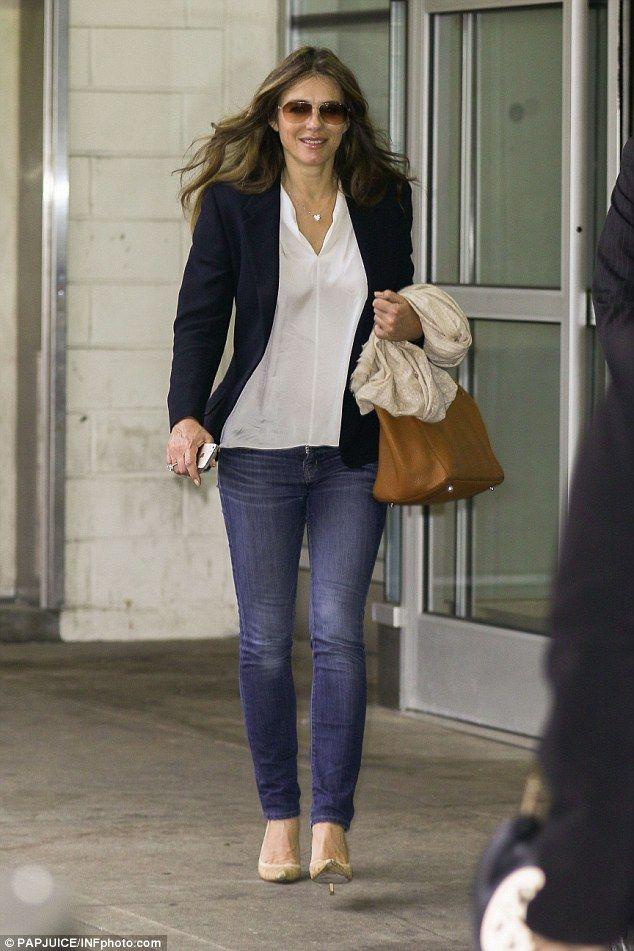 Jet setting: Liz arrived at New York City's John F. Kennedy International Airport on Monda...