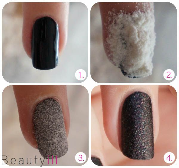 DIY Nail Art | Liquid Sand! 1) After you have made your base coat paint your nails in the color you want. 2) Then let some flour on your nail and press it gently. 3) Tap/blow it there then carefully and leave it just dry up. 4) Now apply a layer of nail polish of your choice. In order to keep it as much as possible on Liquid Sand seems you can choose to take the best for something with glitter @stylexpert