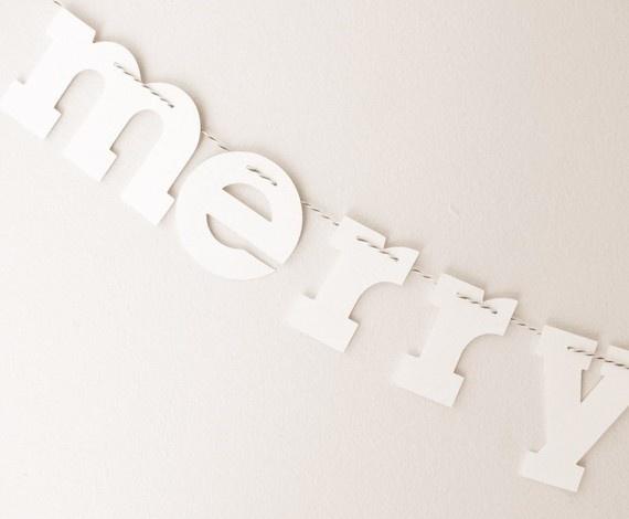 Merry Christmas garland: Paper Garlands, Garlands White, Banners Buntings Garlands, Christmas Banners, Banners Garlands Mobiles, Paper Merry, White Christmas, Christmas Garlands, Merry Christmas