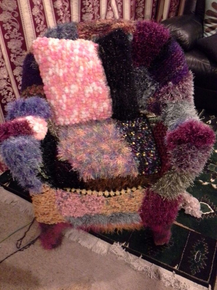 Yarn bombed cane chair for granddaughter's 9th birthday 2016