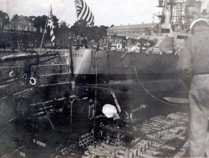U.S.S. Ohio Navy Battleship In Drydock - WW1 Original Photo
