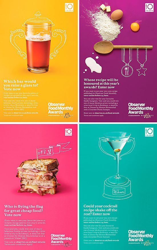 "Série d'affiches pour les ""Observer Food Monthly Awards"". L'idée est de transformer les photos d'aliments et d'ustensiles en symboles de #phone review #new phone