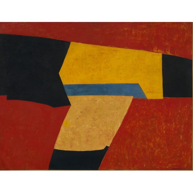 Exposition - Serge Poliakoff - MaM - Paris. Poliakoff developed a very individual form of abstract painting, arranging different colored fields of color next to one another. Shades of brown and grey were his preferred colors during the 1940s, while after the 1950s he extended his palette including bright contrasting tones. In his late work Poliakoff abandoned the polychrome palette and returned to earth tones and more monochrome works.
