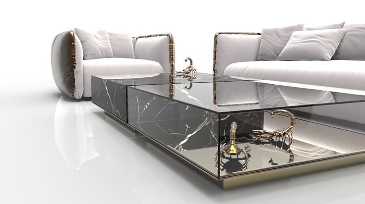 METAMORPHOSIS CENTER TABLE - Center table composed by two fragments, finished in mirror and noble marble and beautified by the presence of golden creatures.   See more: www.bocadolobo.com #bocadolobo #furniture #centertable