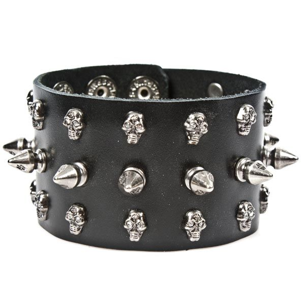 Spiked Leather Chain Link Gothic Wristband Bracelet PGPwX