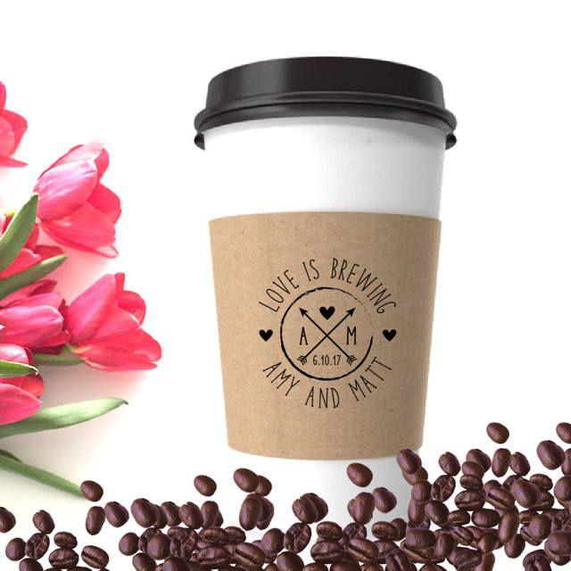 Coffee Wedding Favor - Wedding Coffee Sleeve Stamp - Coffee Cup Sleeve Stamp - Bridesmaid Shower Custom Coffee Favor - Personalized Coffee by SouthernPaperAndInk on Etsy