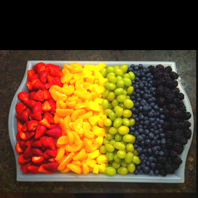 Rainbow Fruit Tray- marshmallow clouds And chocolate fountain