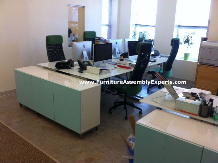 Ikea Modular Office Furniture With Galant Desks And Bestar Storage Unit Assembled For Health Hiv Organization