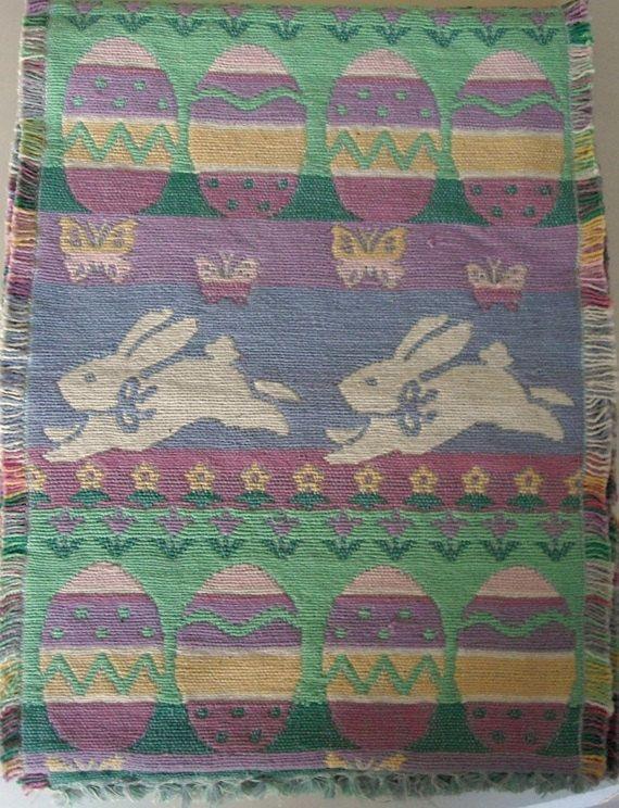 Easter Woven Cotton Table Runner vintage Easter by designfrills