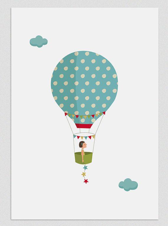 Illustration Five weeks in a balloon Girl par Tutticonfetti sur Etsy, $19.00