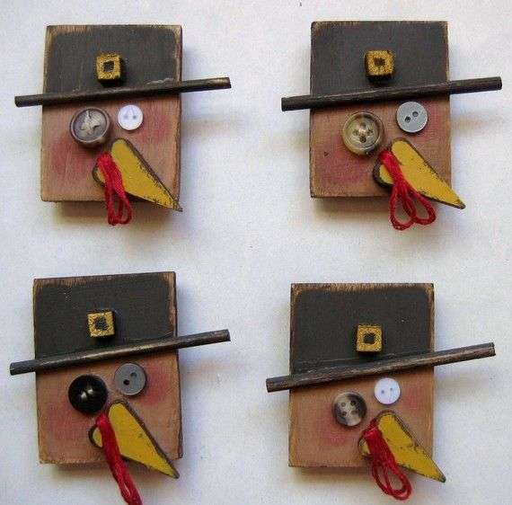 Primitive Tom Turkey Magnets by barbsheartstrokes on Etsy, $8.00