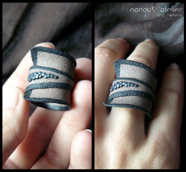 très jolie bague en fimo une pièce - Anillo / Polymer clay Ring :) by nanoukatelier, via Flickr