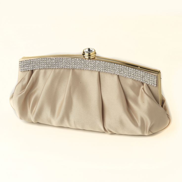 Gold Satin Evening Bag Wedding Purse With Crystal Trim | Bridal Clutch Mothers And Satin