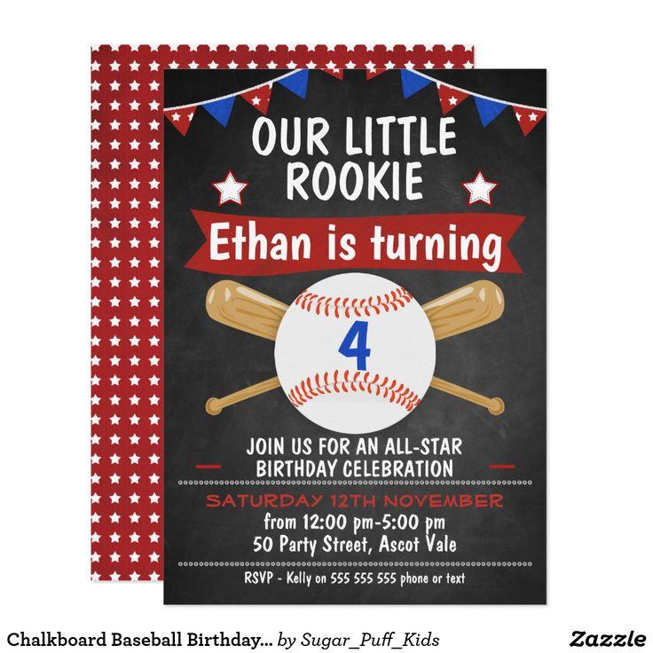 Chalkboard Baseball Birthday Invitation