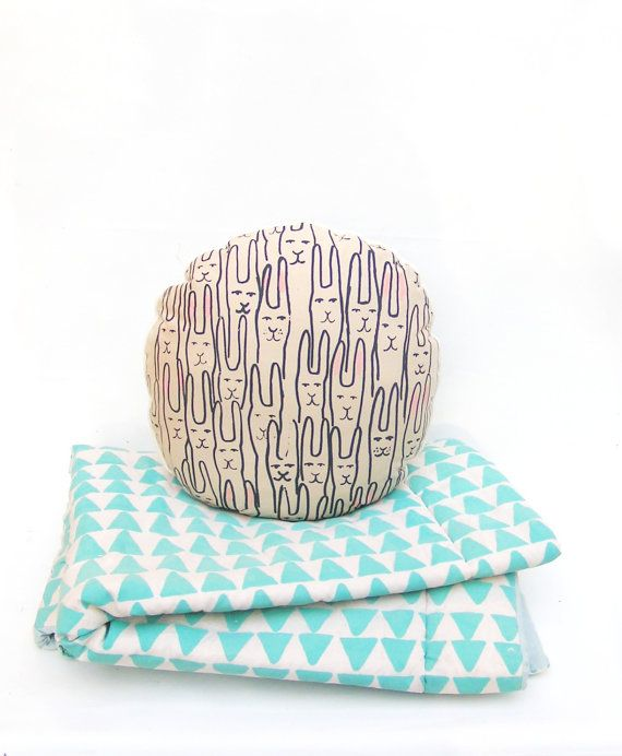 Circle pillow rabbit by normadot on Etsy