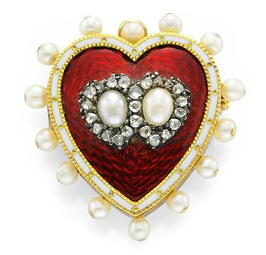 Antique Enamel, Seed Pearl and Diamond Pin Brooch, circa 1890